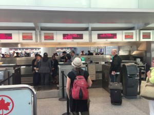 Air Canada ticket counter with 8 agents